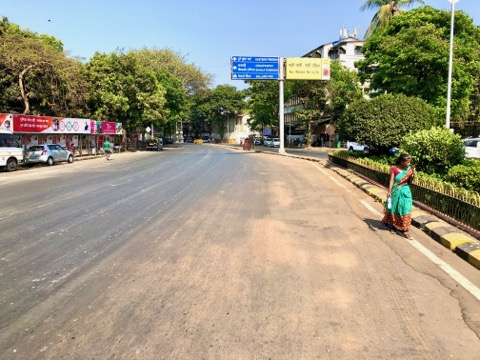 Colaba, Bombay, is almost empty